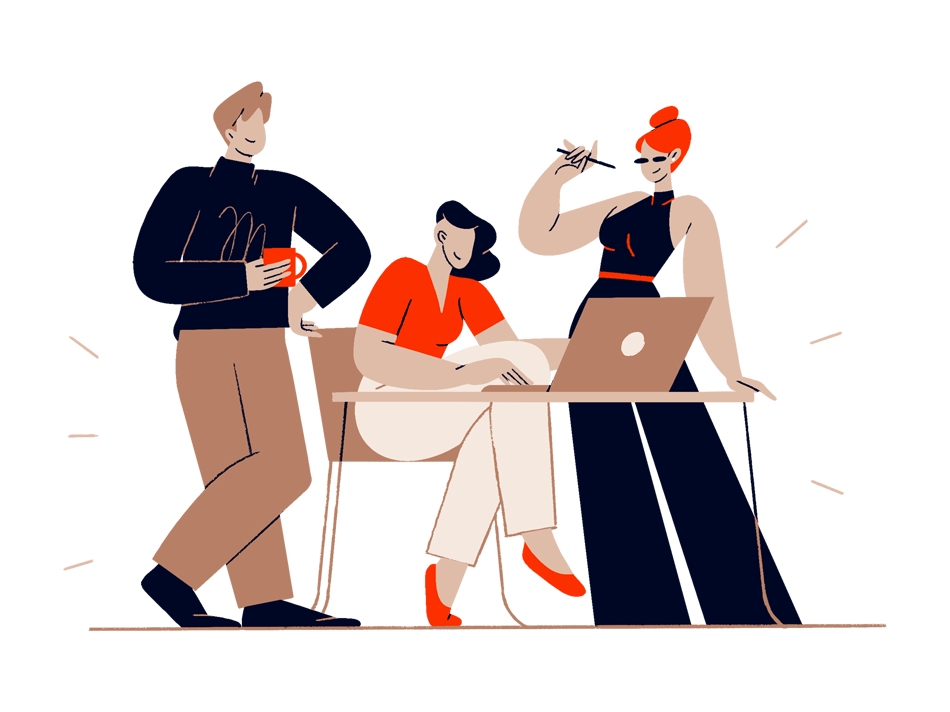 An illustration of three people discussing their MyMuse work together