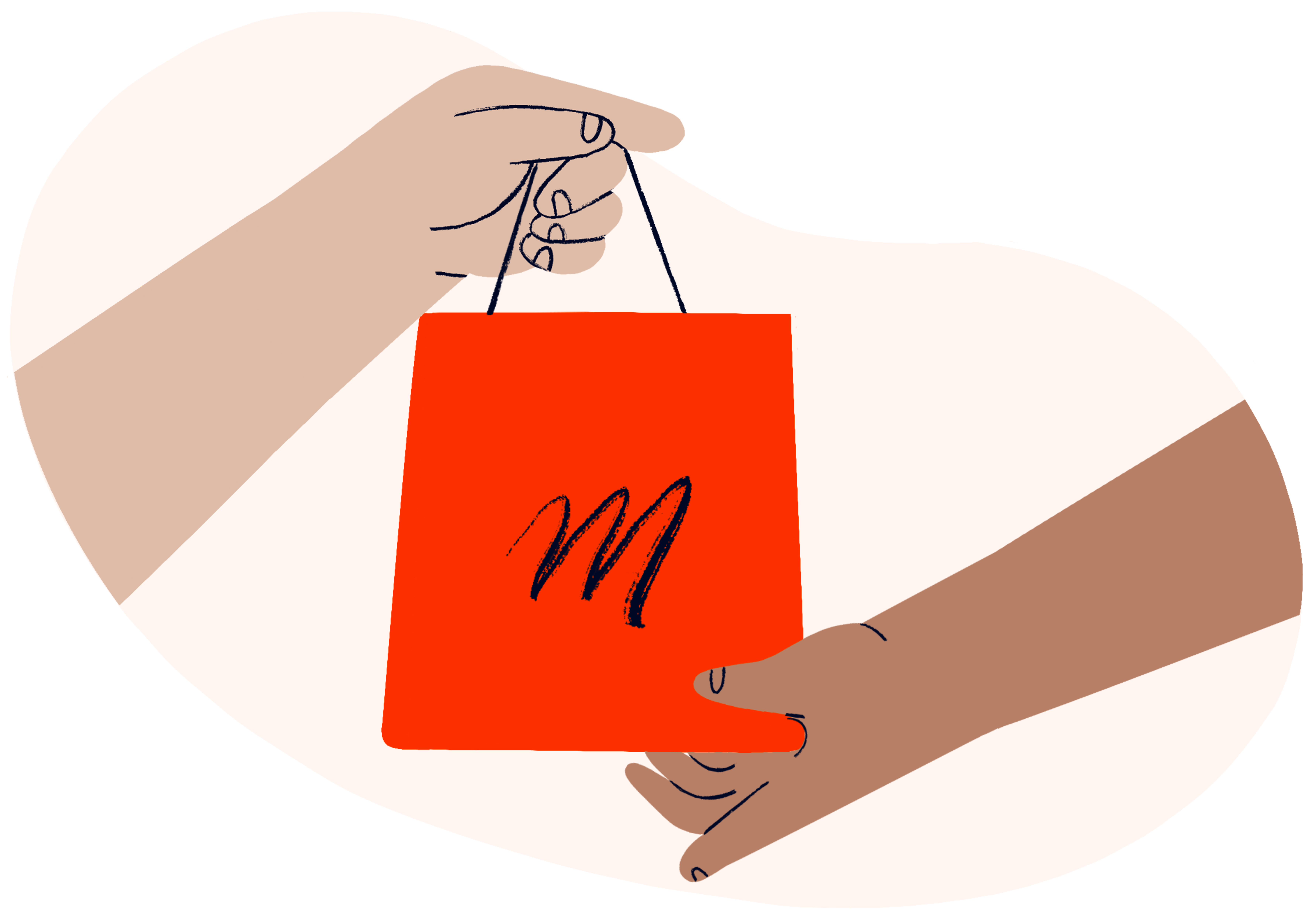 Two hands exchanging an orange coloured handbag with the MyMuse logo on it, representing MyMuse's return policy