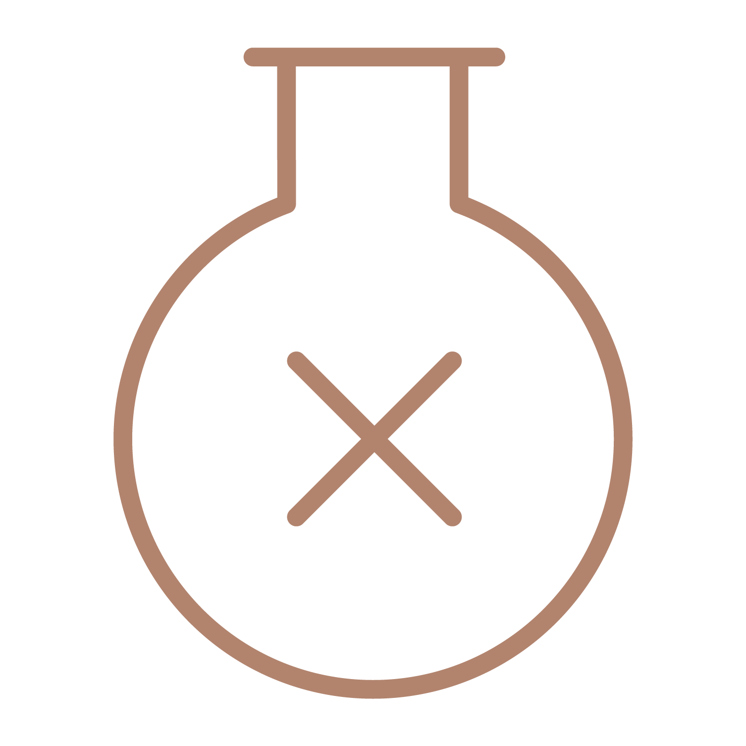 Flask with a cross in the middle representing chemical free constituents of Glide Jelly