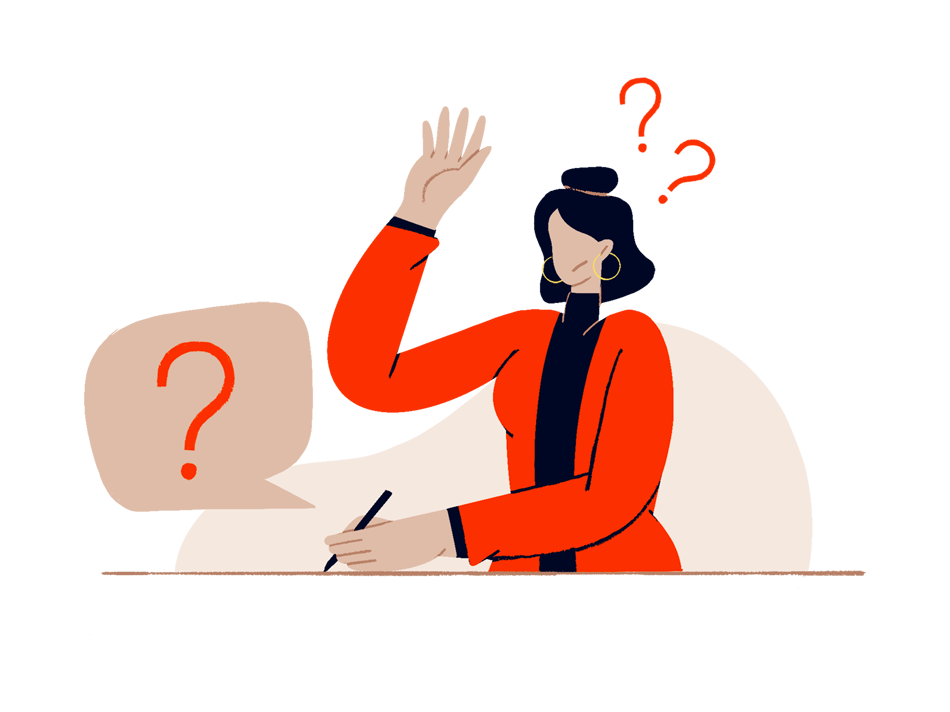 A person in doubt raising hand to  to ask a question while writing something down, representing MyMuse's frequently asked questions