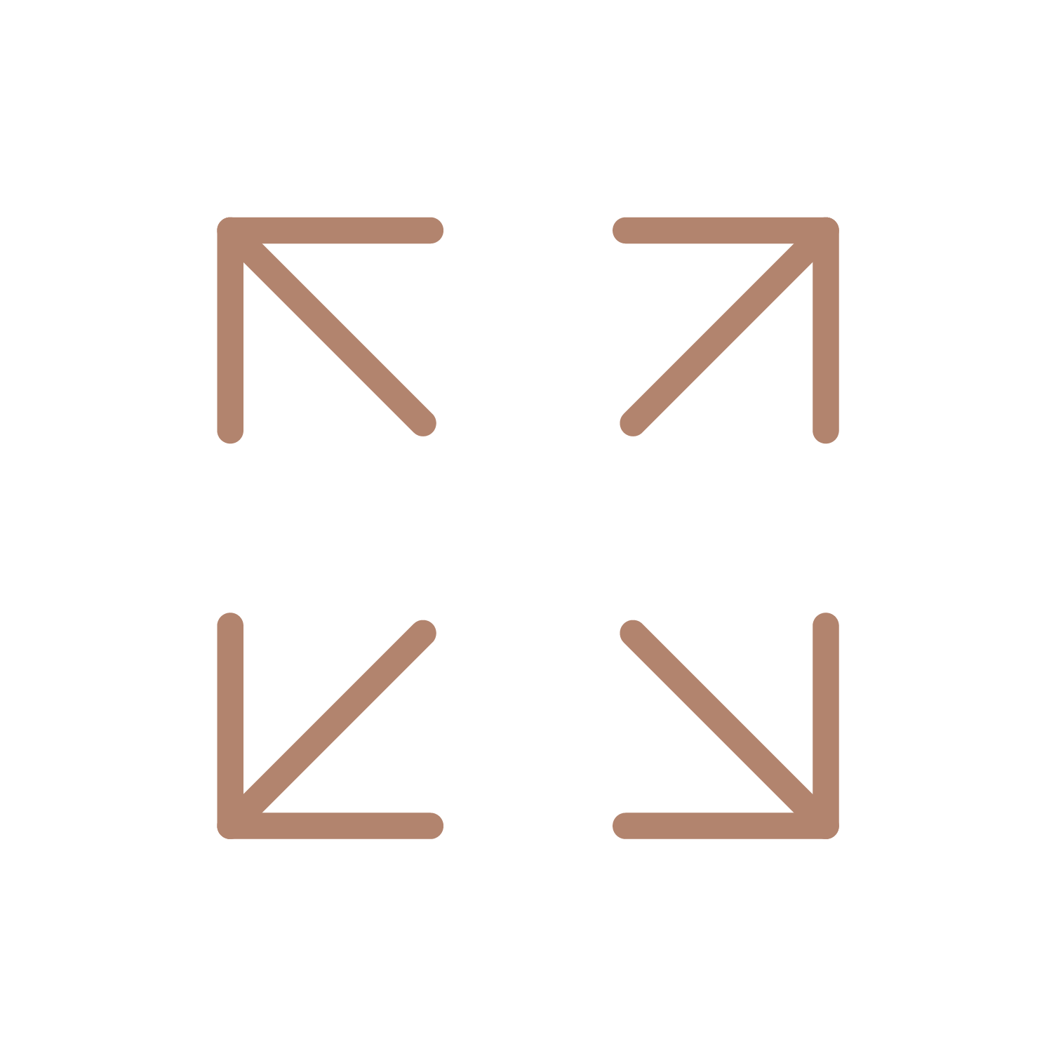 Four arrows pointing outwards in corners forming a square, denoting all sizes