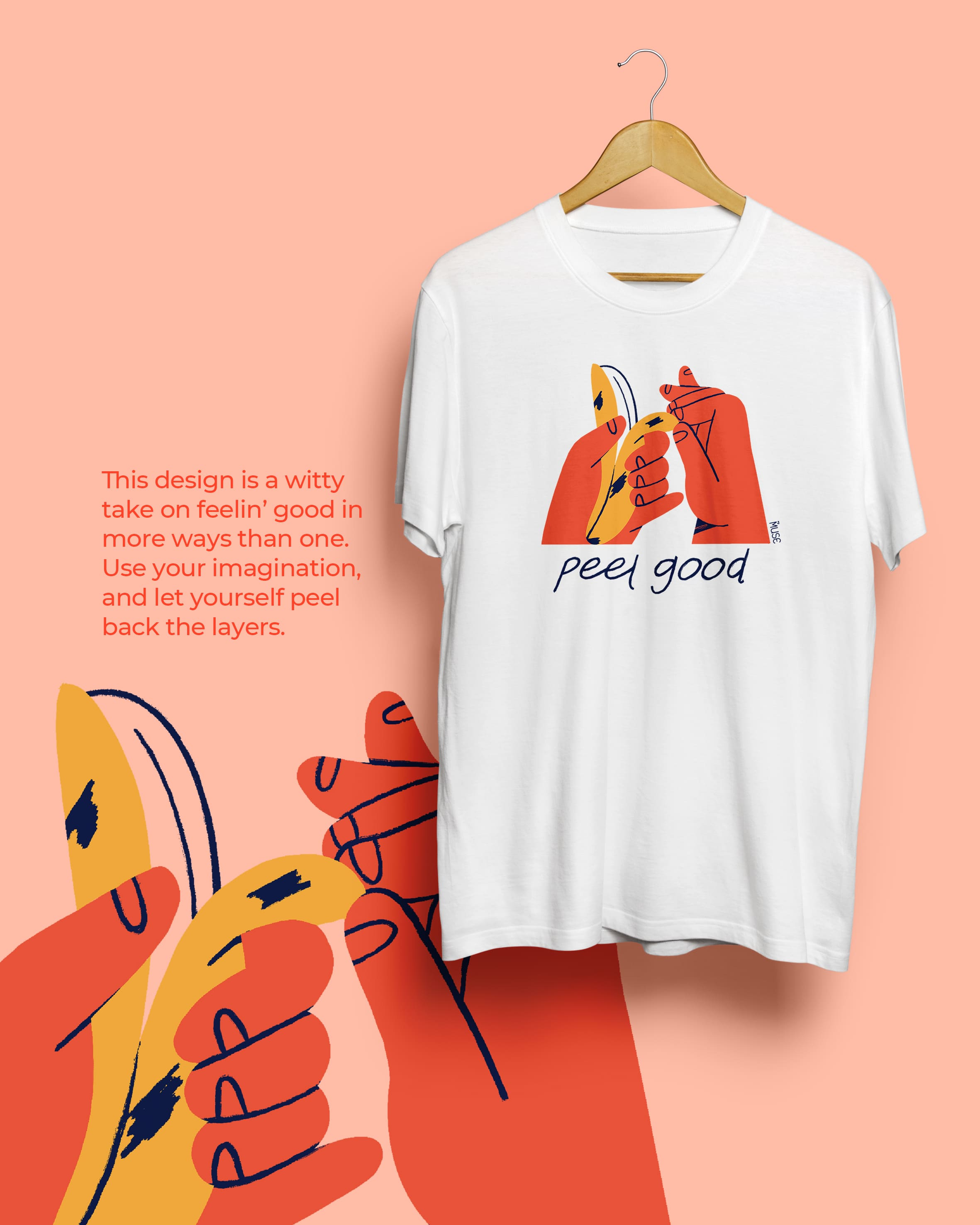 The Peel Good t-shirt design by MyMuse x Fighting Fame in the background with an illustration of the design in the foreground