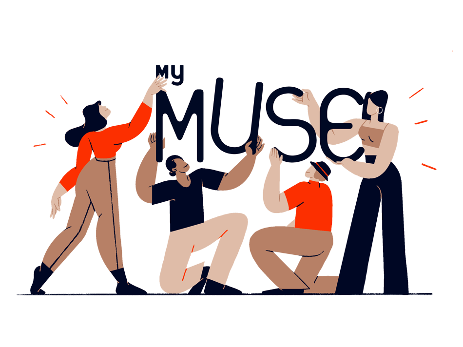 """Four people holding alphabets together forming the word """"MyMuse"""", representing MyMuse's Insider affiliate program"""