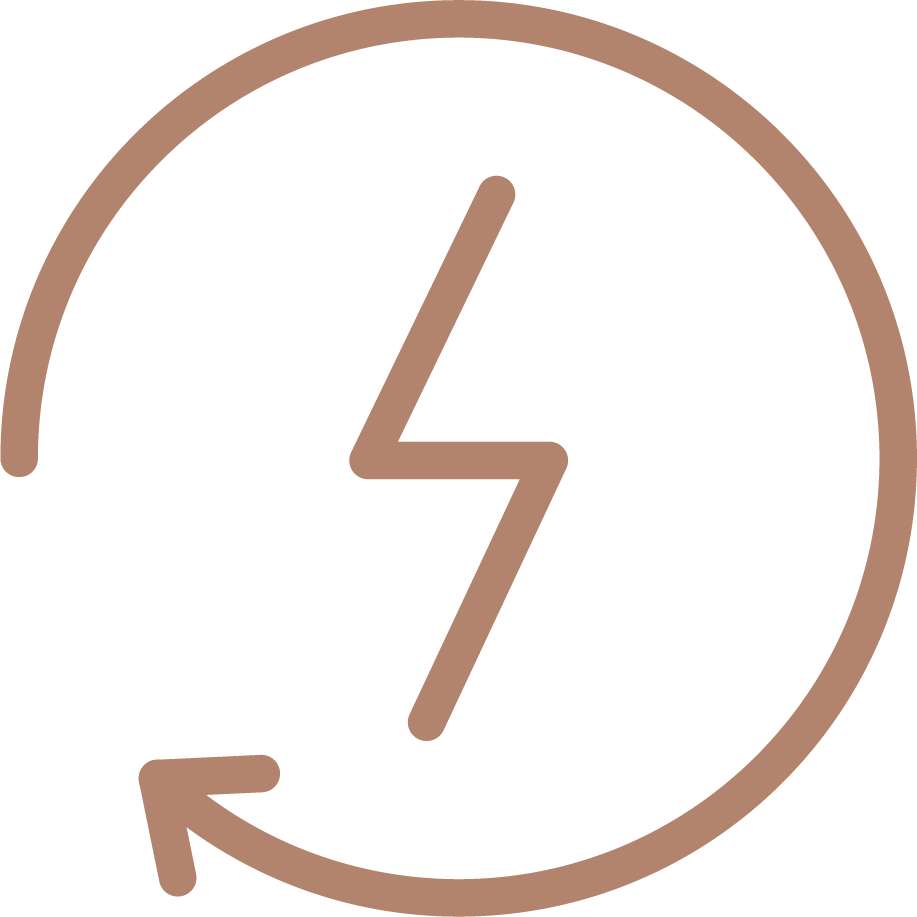 Thunder symbol inside a circular arrow denoting rechargeability of MyMuse's Pulse massager