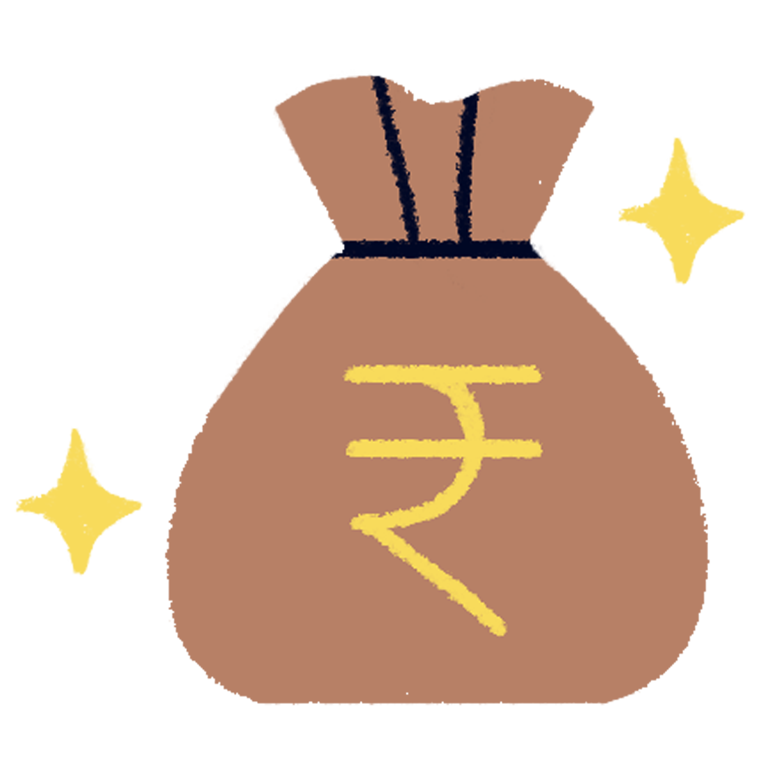 A bag full of money with a Rupee symbol on it representing earnings from the MyMuse Insider program
