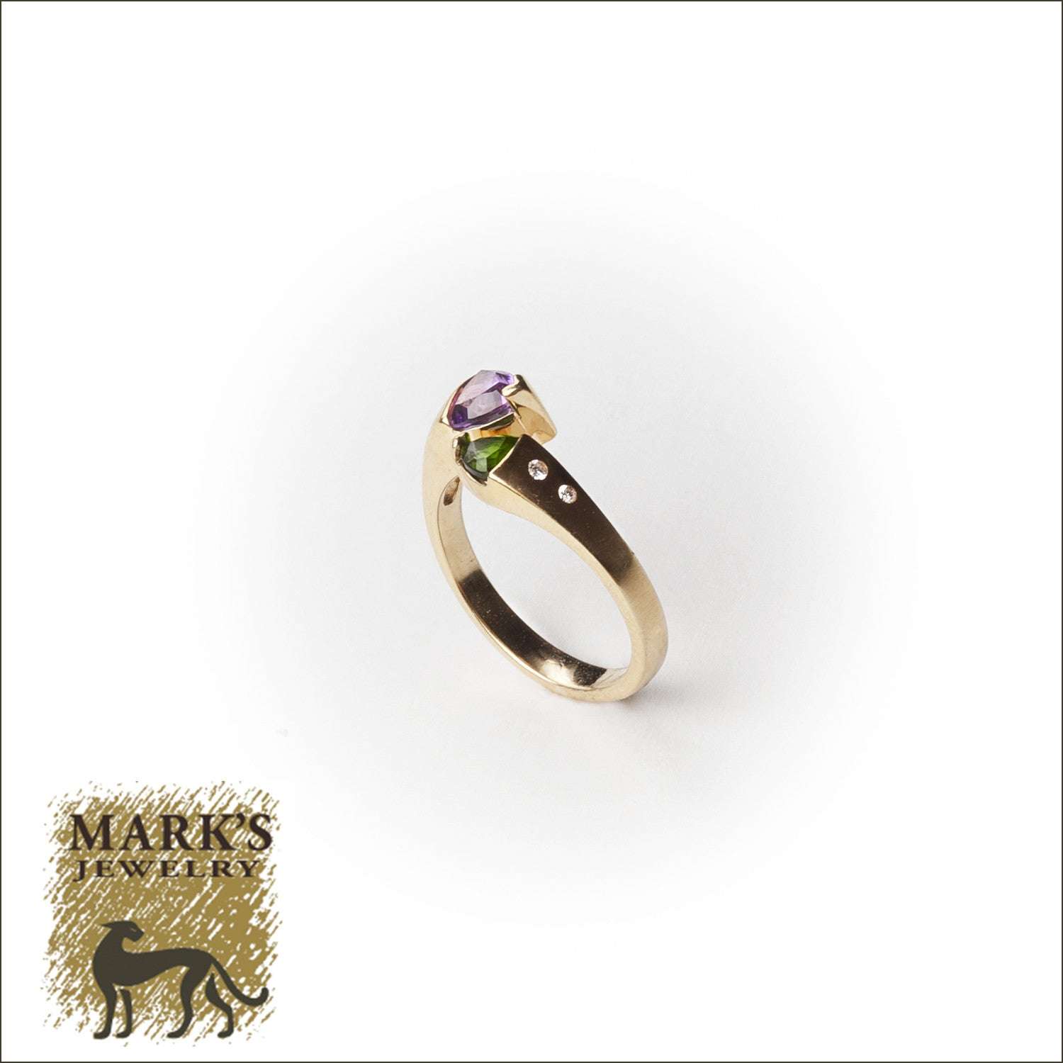 14K Yellow Gold Amethyst/Chrome Diopside & Diamond Ring