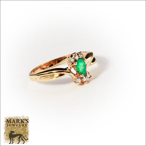 * 00333 14K Yellow Gold 0.25 ct Emerald & Diamond Ring