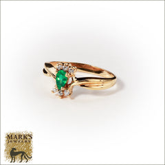 14K Yellow Gold 0.25 ct Emerald & Diamond Ring, Marks Jewelry