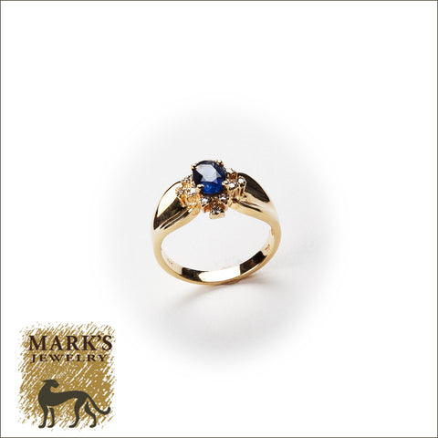 * 00338 14K Yellow Gold Oval Sapphire & Diamond Ring
