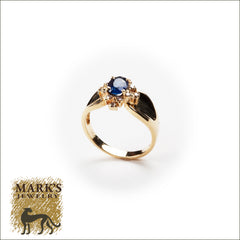 14K Yellow Gold Oval Sapphire & Diamond Ring
