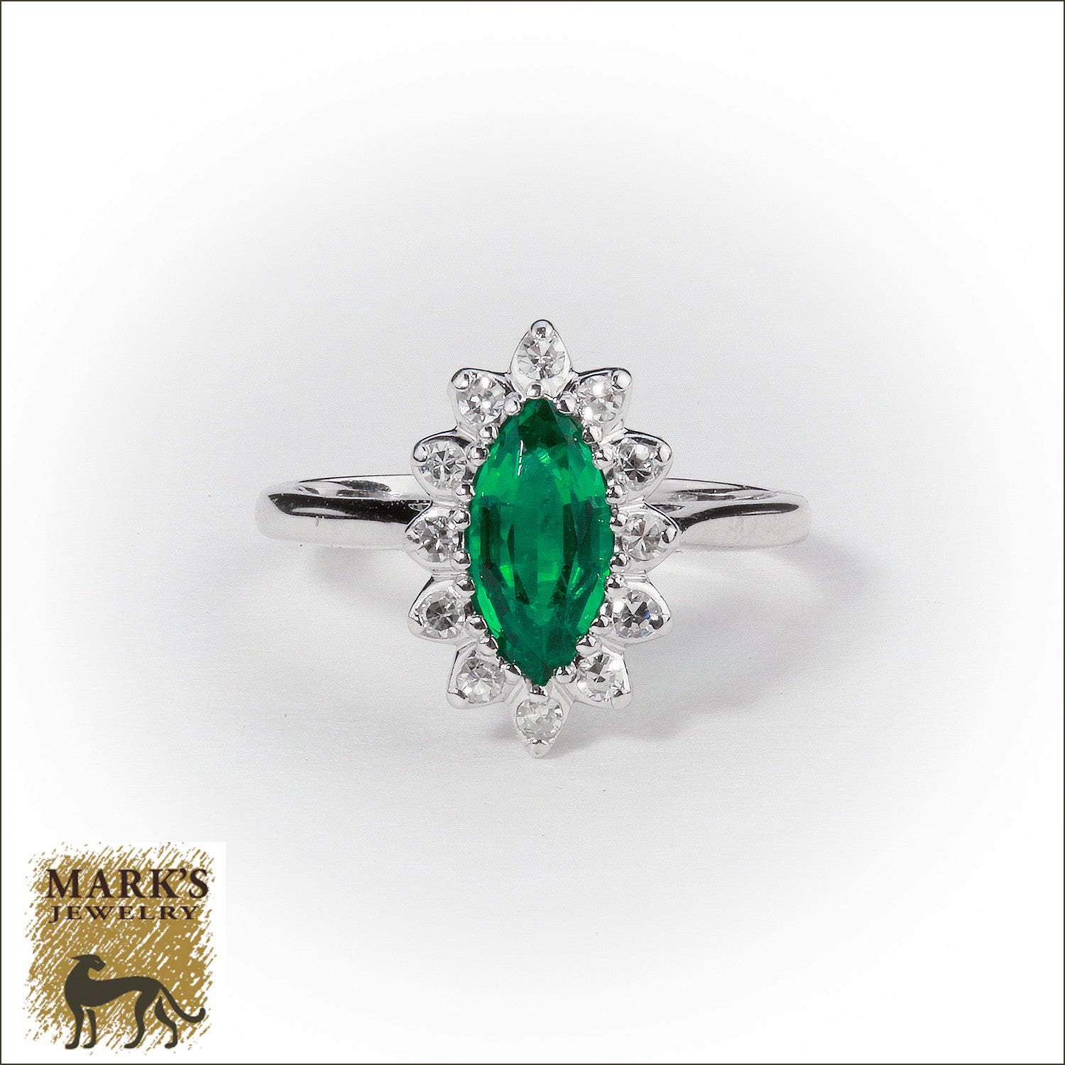 Estate 14K Yellow Gold Synthetic Marquise Emerald & Diamond Ring, Marks Jewelry