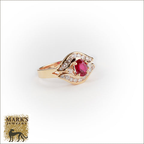 00797 14K Yellow Gold 1.05 ct Oval Ruby & 0.57 cttw Diamond  Ring
