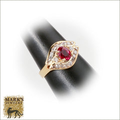 14K Yellow Gold 1.05 ct Oval Ruby & 0.57 cttw Diamond  Ring, Marks Jewelry Homewood AL