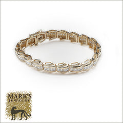 "14k Yellow Gold ""Fancy Link""  Diamond Tennis Bracelet"