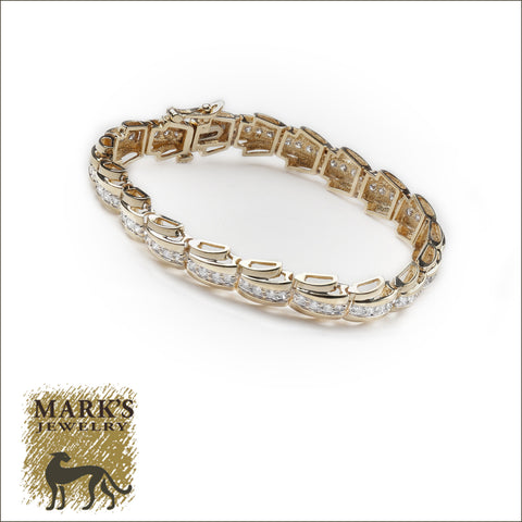 "00844 14k Yellow Gold ""Fancy Link""  Diamond Tennis Bracelet"