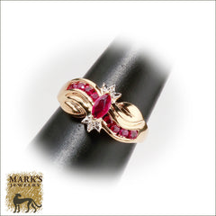 01795 10K Yellow Gold Marquise Ruby Ring, Marks Jewelry Birmingham AL