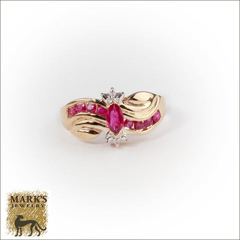 * 01795 10K Yellow Gold Marquise Shaped Ruby Ring