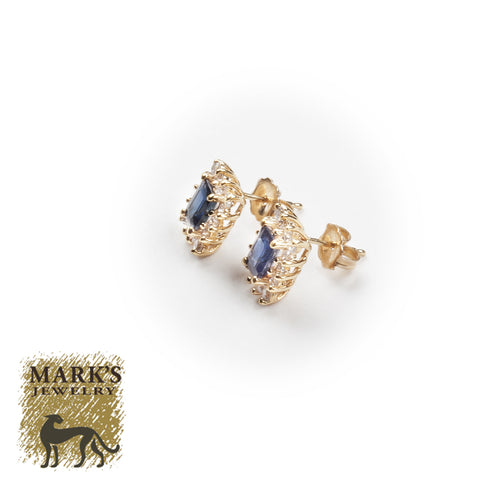 02440 14K Yellow Gold Emerald Cut Sapphire & Diamond Earrings