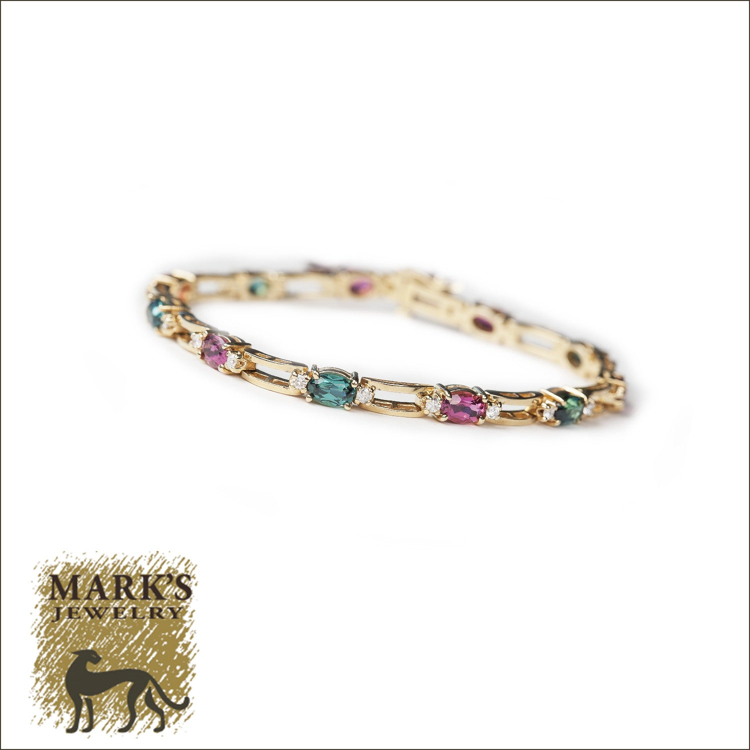 14k Yellow Gold Diamond with Pink & Green Tourmaline Bracelet