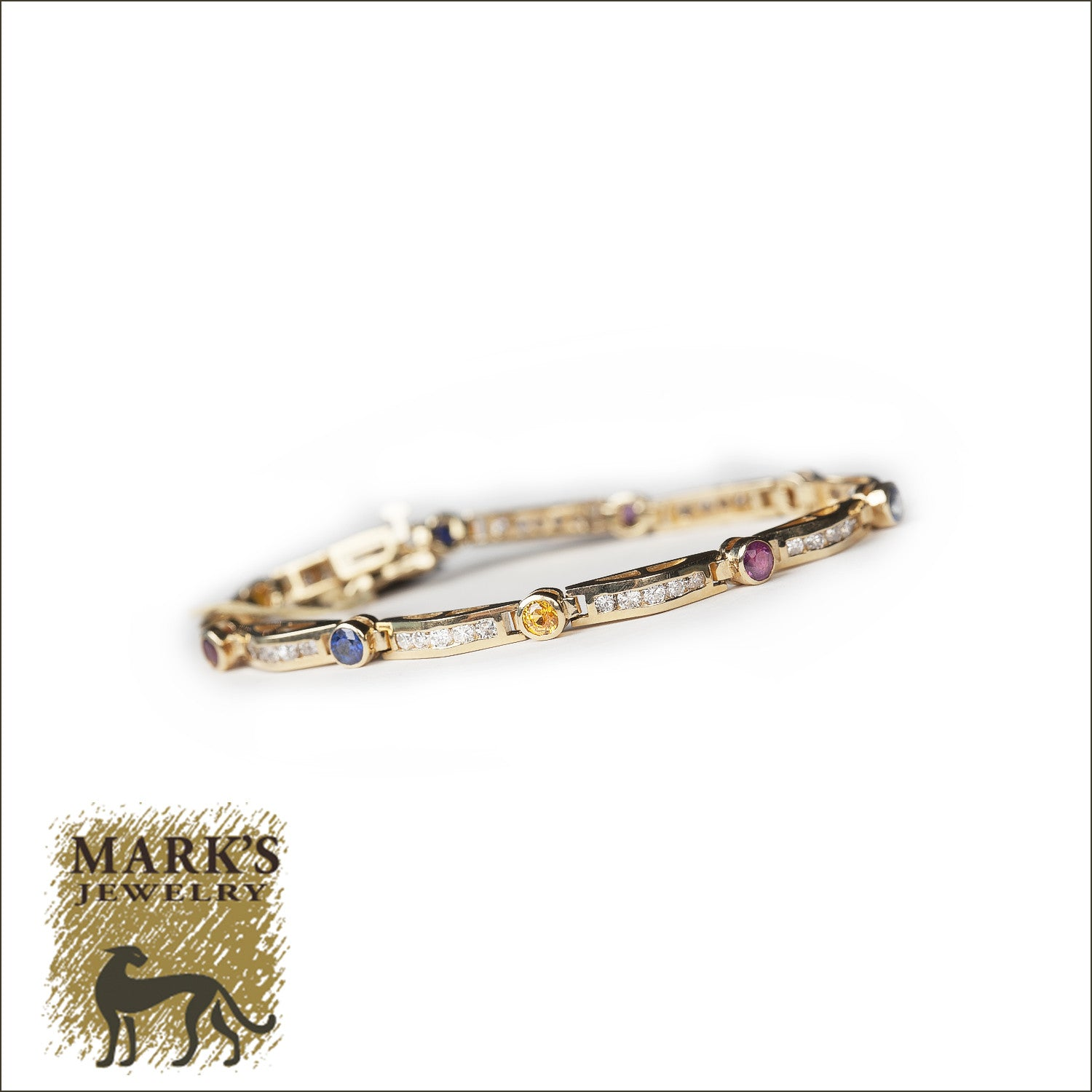 14k Yellow Gold  Blue & Yellow Sapphire with Diamonds & Rubies Bracelet