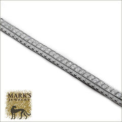 03124 18K White Gold Princess Cut Diamond Tennis Bracelet