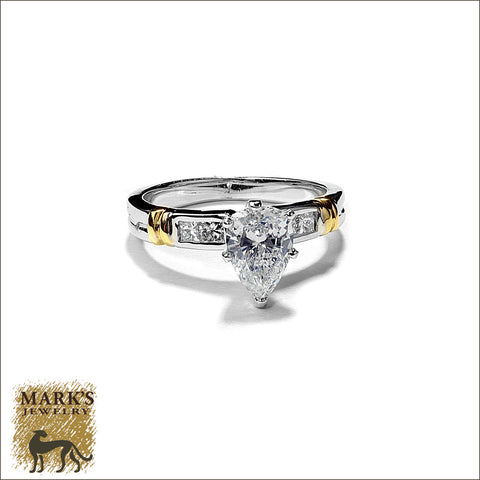 * 03210 / 05616 Estate 18K TwoTone 1.06 ct Pear Shaped Cut Diamond Ring