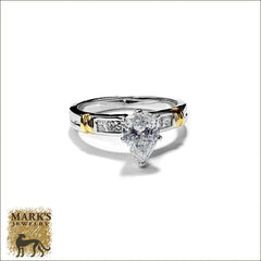 Estate 18K TwoTone 1.06 ct Pear Shaped Cut Diamond Ring