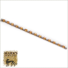 14k Yellow Gold Diamond & Yellow Sapphire Bracelet