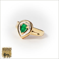 Estate 14K Yellow Gold Pear Shaped Emerald & Diamond Ring, Marks Jewelry Homewood AL
