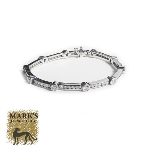 03589 14K White Gold Bezel & Channel Set Bracelet