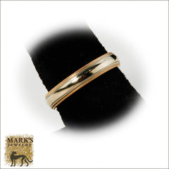 14K Two Tone Double Milgrain Detailed 4mm Men's Band, Marks Jewelry