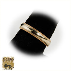 03606 14K Two-Tone Double Milgrain 4mm Band
