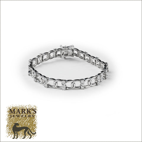 03662 14K White Gold Diamond Bracelet