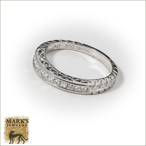 * 03842 Platinum Hand Engraved Princess Cut Diamond Band