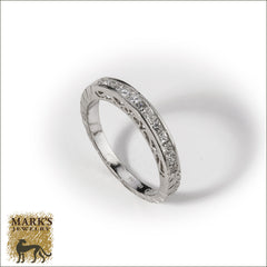 Platinum Hand Engraved Princess Cut Diamond Band