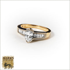 14K Two Tone 1.50 cttw Marquise Diamond &; Baguette Ring, Marks Jewelry Birmingham AL