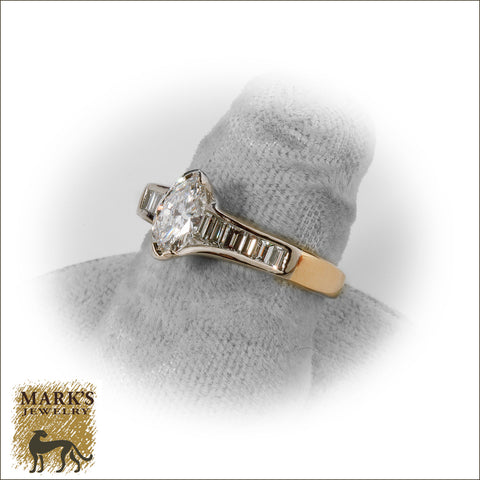 * 04021 Estate 14K Two Tone ~1.50 cttw Marquise Diamond & Baguette Ring
