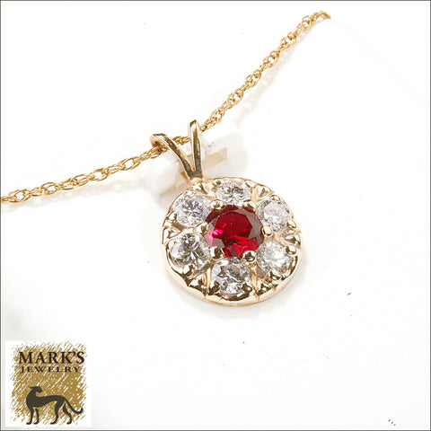 04070 Estate 14K Yellow Gold Diamond with Synthetic Ruby Necklace
