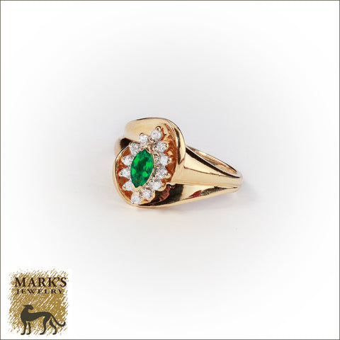 04084 Estate 14K Yellow Gold Synthetic Marquise Emerald & Natural Diamond Ring
