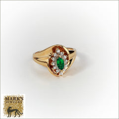 Estate 14K Yellow Gold Synthetic Marquise Emerald & Natural Diamond Ring, Marks Jewelry Birmingham AL