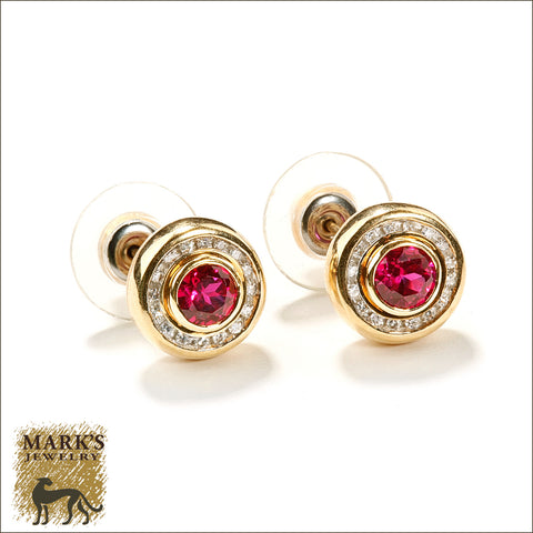 * 04147 Estate 14K Yellow Gold Synthetic Ruby & Natural Diamond Earrings