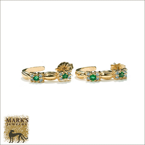 04152 Estate 14K Yellow Gold Emerald & Diamond Half Loop Earrings