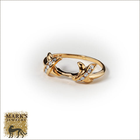 * 04158 14K Yellow Gold Wrap with Channel Set Round Brilliant Diamonds