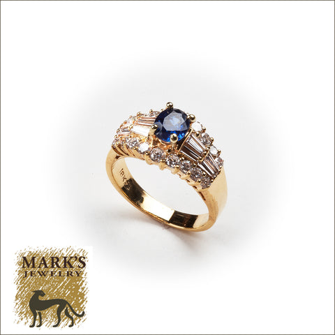 04234 14K Yellow Gold Oval Sapphire & Diamond Ring