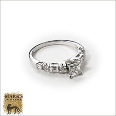 14K White Gold 0.65 ct Princess Cut Diamond Ring