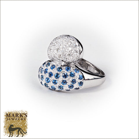 * 04384 18K White Gold Bypass Paved Diamonds & Sapphires Ring
