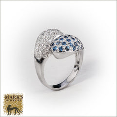 18K White Gold Bypass Paved Diamonds & Sapphires Ring, Marks Jewelry Homewood AL