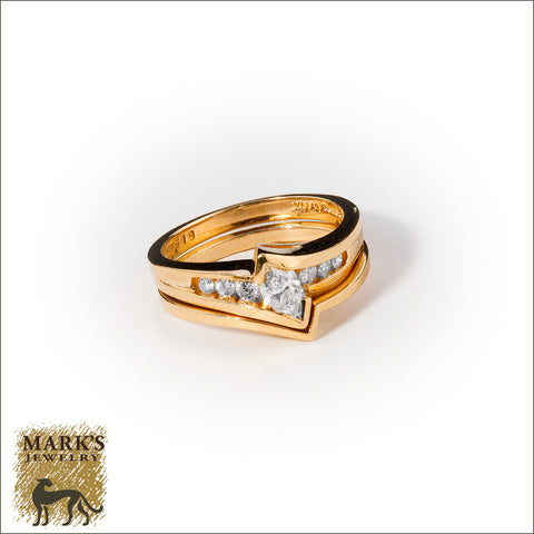 * 04507 14K Yellow Gold 0.51cttw Marquise & Round Brilliant Diamond Ring Set