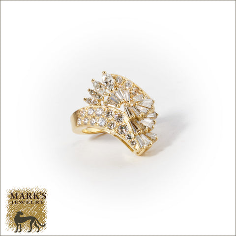 * 04524 18K Yellow Gold 3 cttw Diamond Cluster Ring