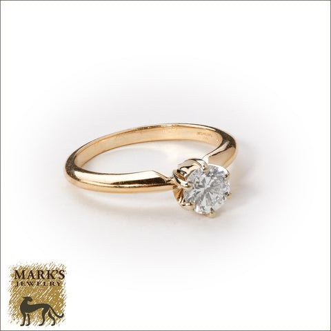* 04655 Estate 14K Yellow Gold 0.50 ct Solitaire Diamond Ring